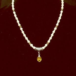 Citrine' Oval, White Pearl Necklace, One of a Kind